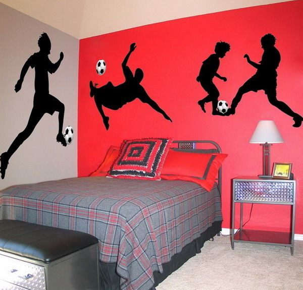 Soccer bedrooms soccer wall murals for boys bedroom - Comely pictures of basketball themed bedroom decoration ideas ...