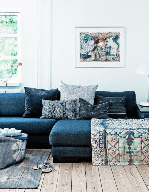 Sofa With An Arrangement Of Mixed Patterned Pillows Denim Couch, Navy Couch,  Navy Blue