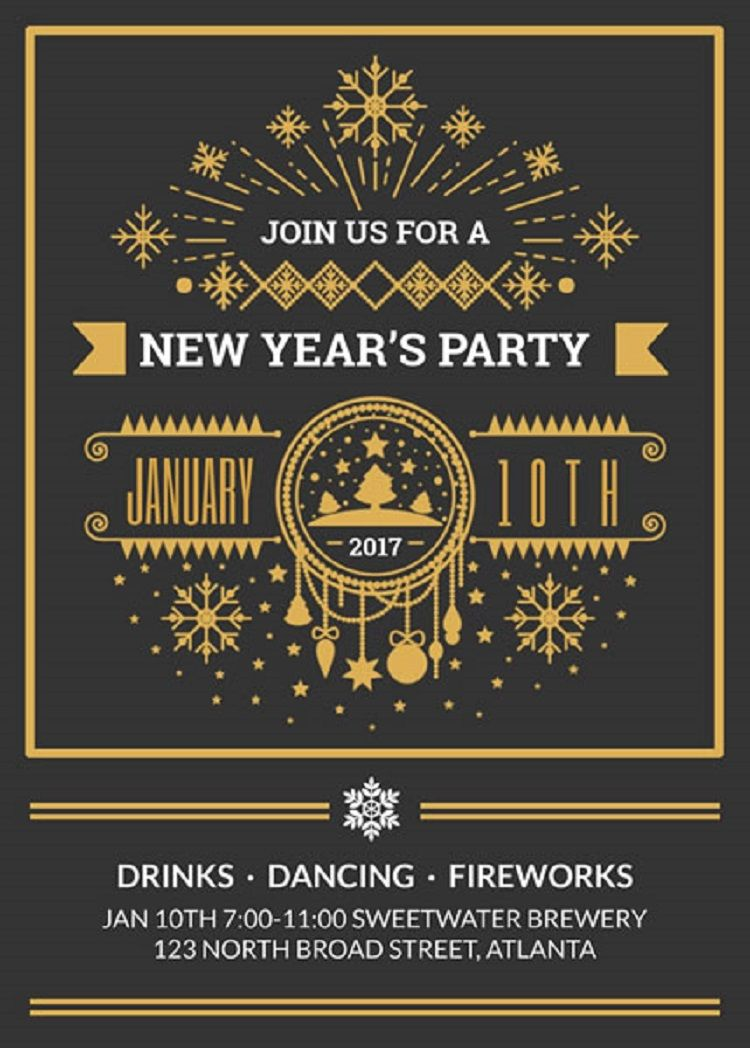 new year party invitation free template