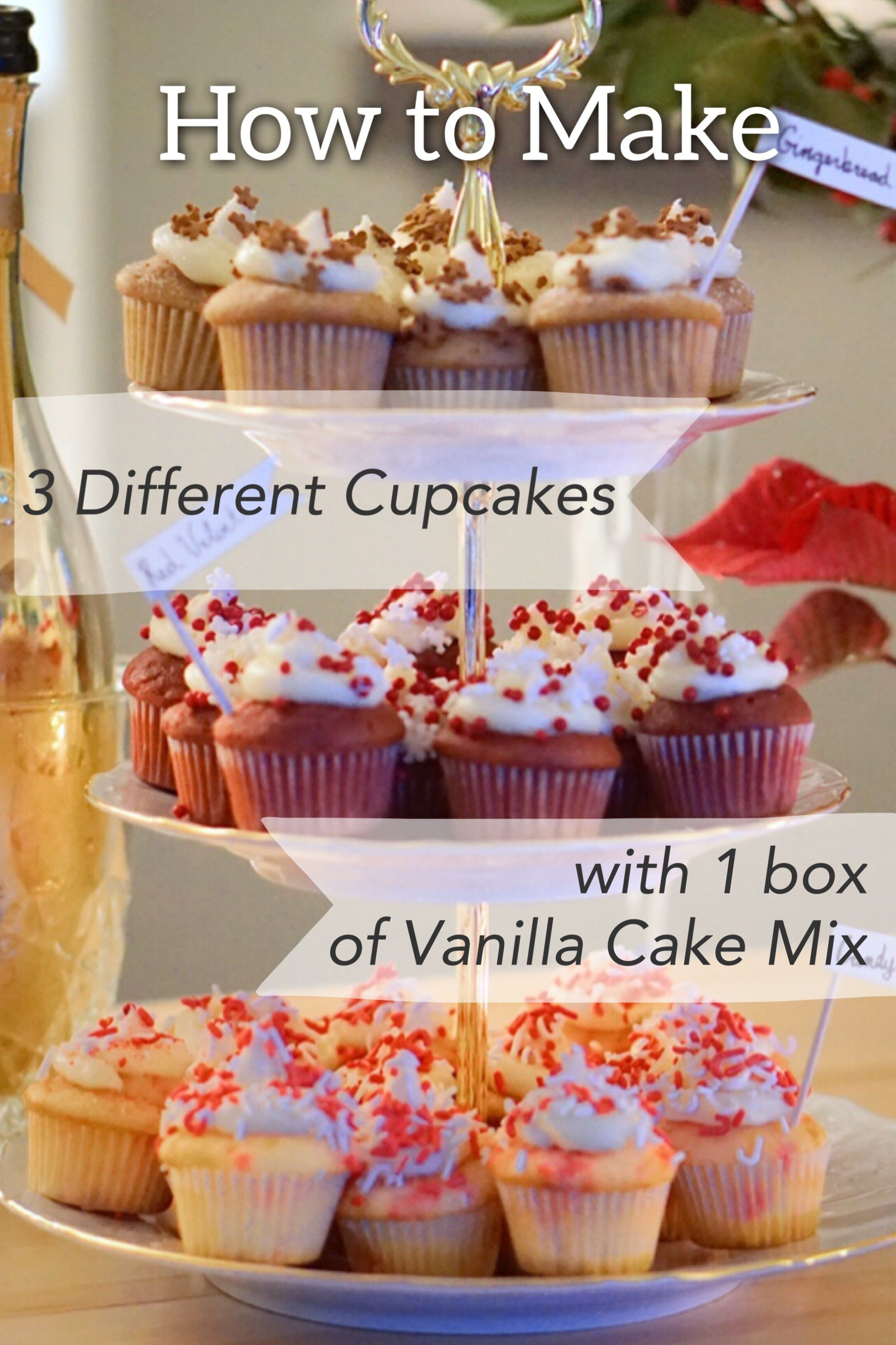 How To Make 3 Different Flavor Cupcakes With 1 Box Of Vanilla Cake