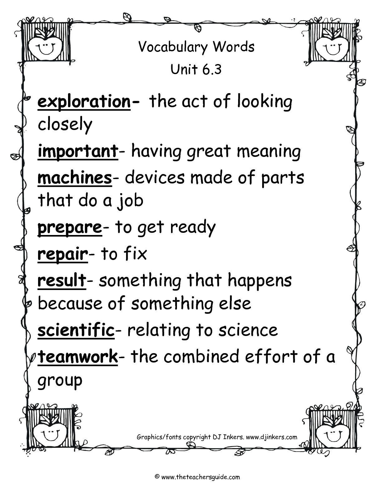 2nd Grade Vocabulary Worksheets Vocabulary Words For