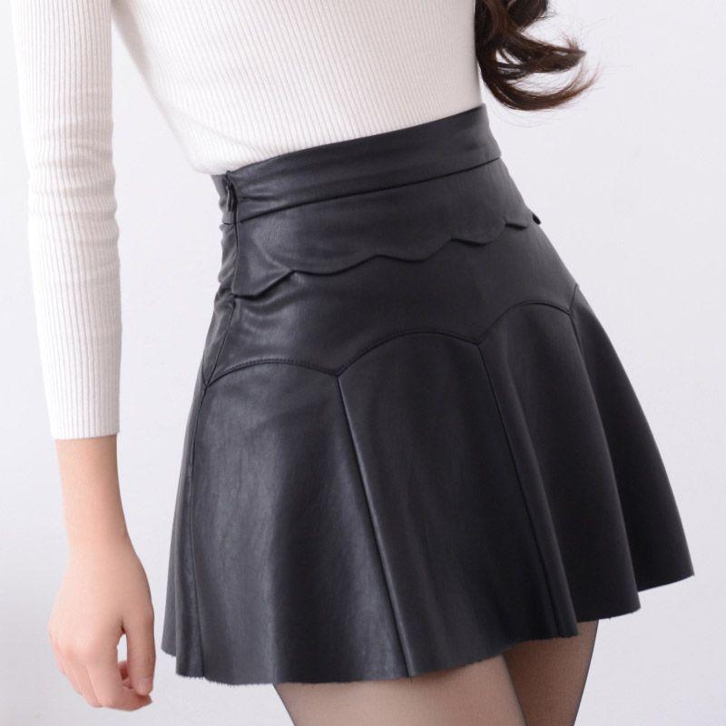 2d6948a570 Cheap Nuevo 2017 rusia moda negro rojo de alta calidad falda de cuero  mujeres vintage cintura alta falda plisada mujer faldas cortas