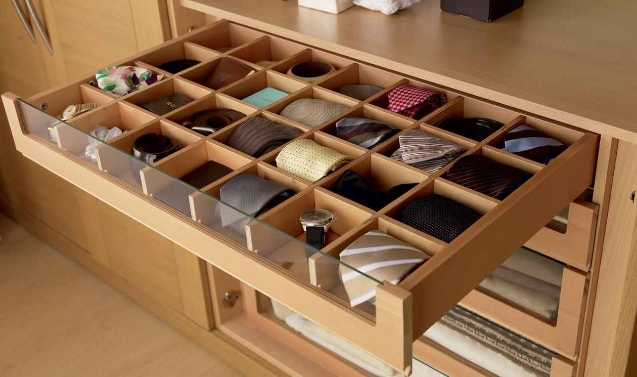 glass fronted drawers - bedroom furniture storage ideas | fitted