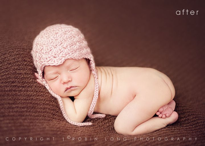 The author walks you through post processing this baby photo using her ps actions