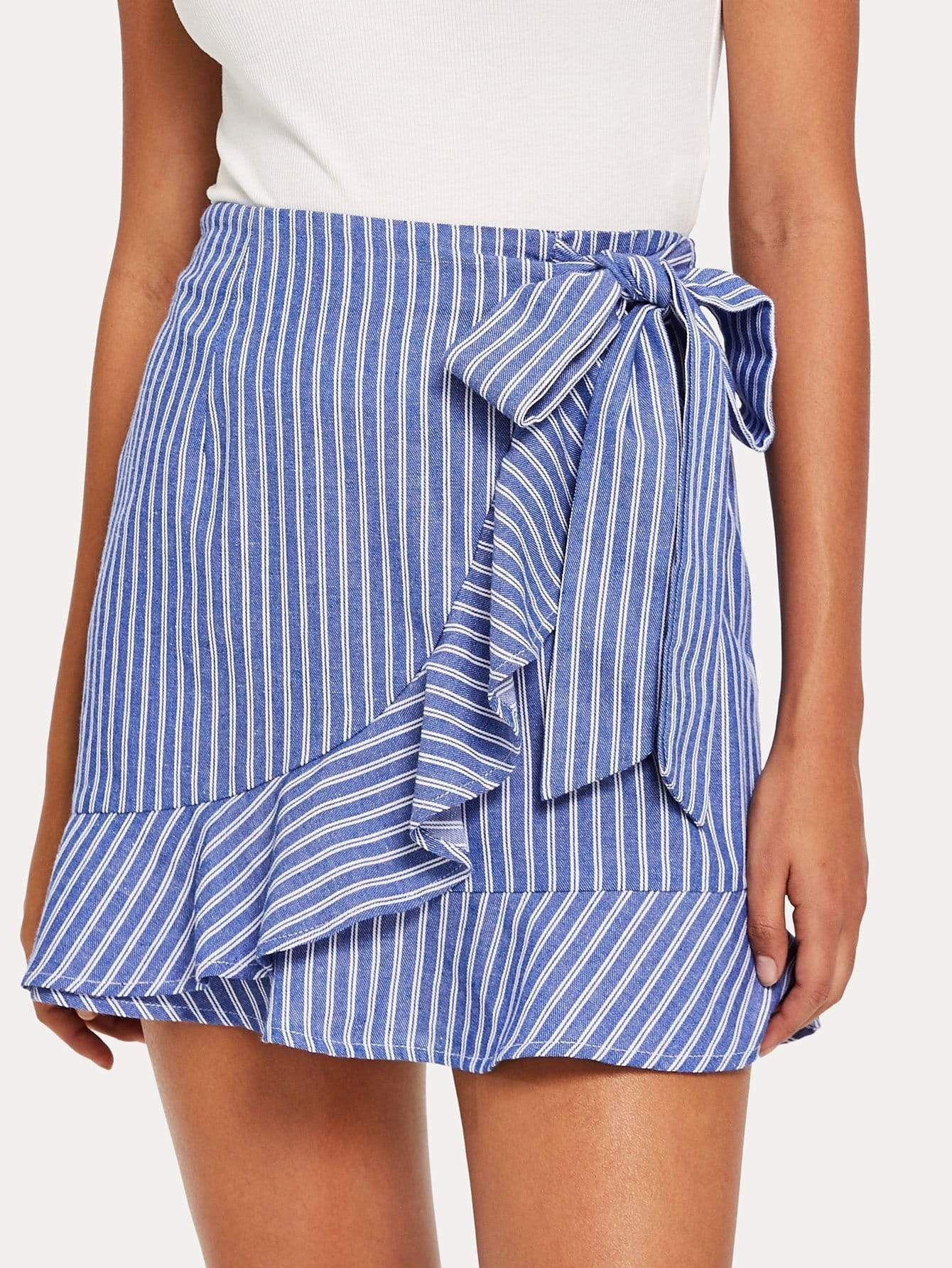 Ruffle Trim Knot Front Striped Wrap Skirt