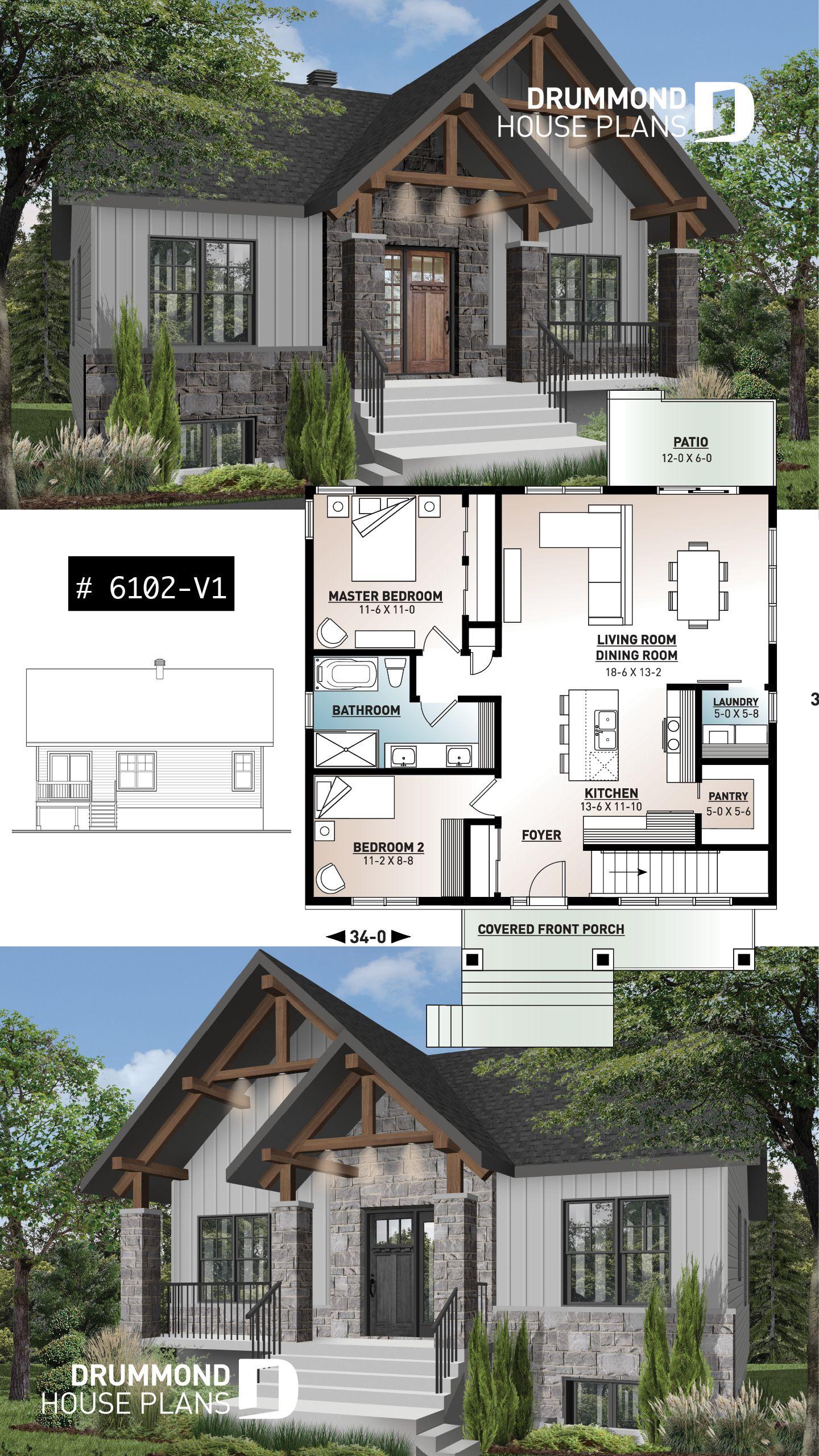 Plan petite maison 2 chambres abordable aire ouverte grande cuisine avec îlot et
