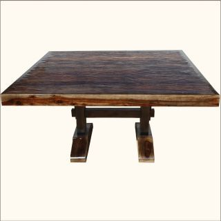 Rustic Solid Wood Large Pedestal Trestle Dining Table Chairs Set For 8 Square Dining Tables Farmhouse Dining Room Table Trestle Dining Tables