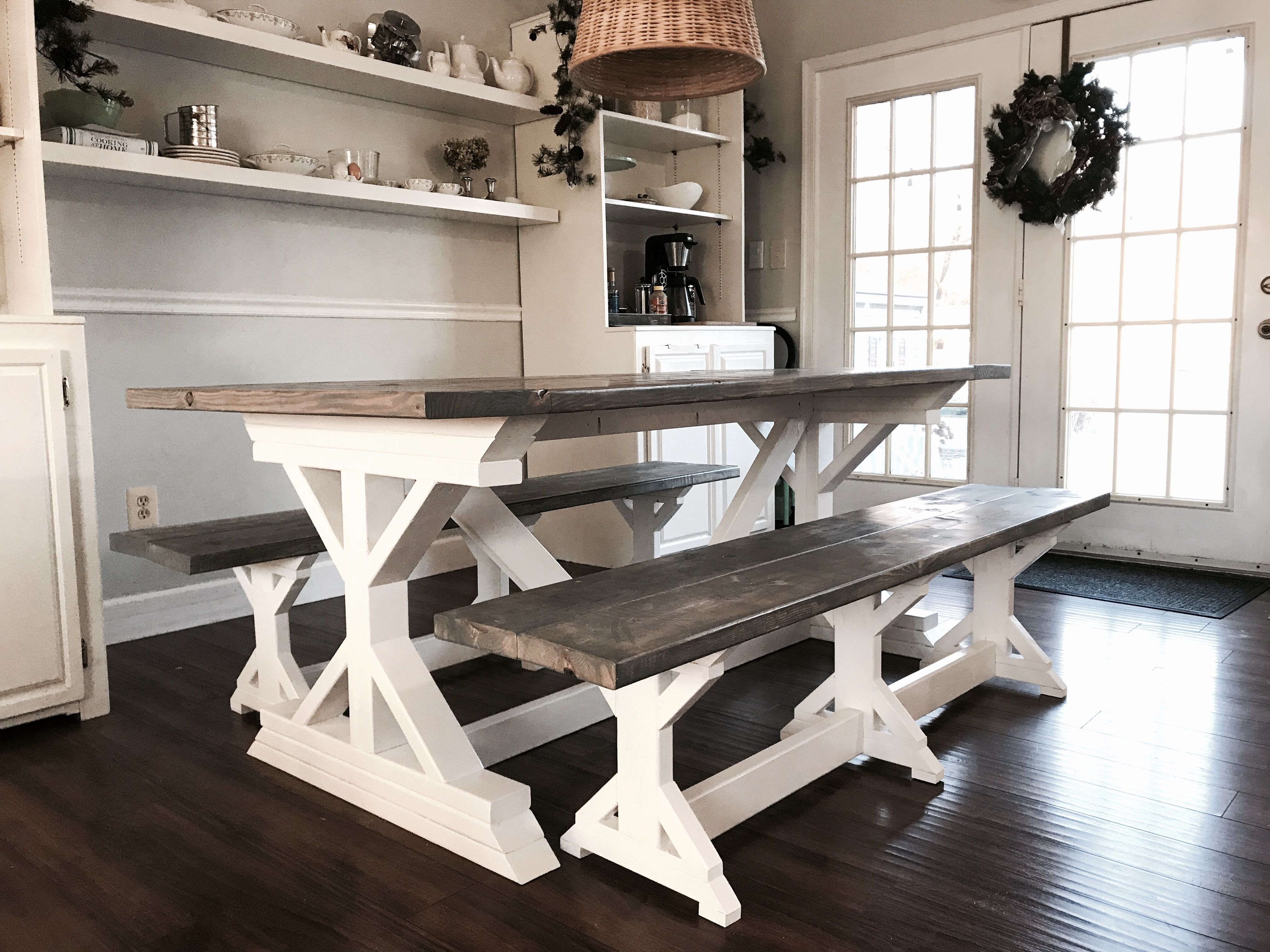 Ana White Two Tone Weathered Gray X Farmhouse Table And Benches