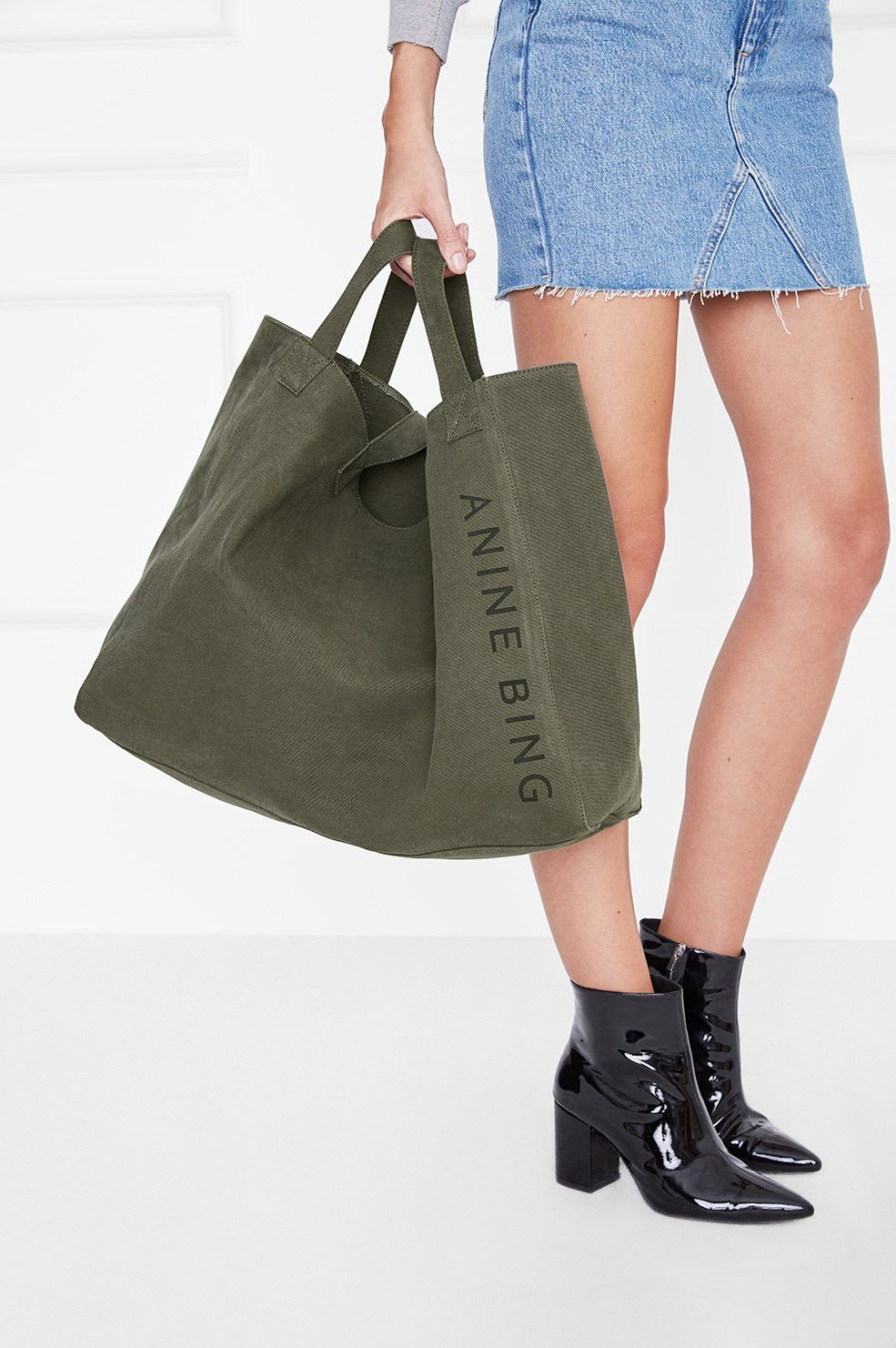 d3b8933f57ff8 ANINE BING CAMILLE TOTE - MILITARY CANVAS.  aninebing  bags  leather  hand  bags  canvas  tote  cotton