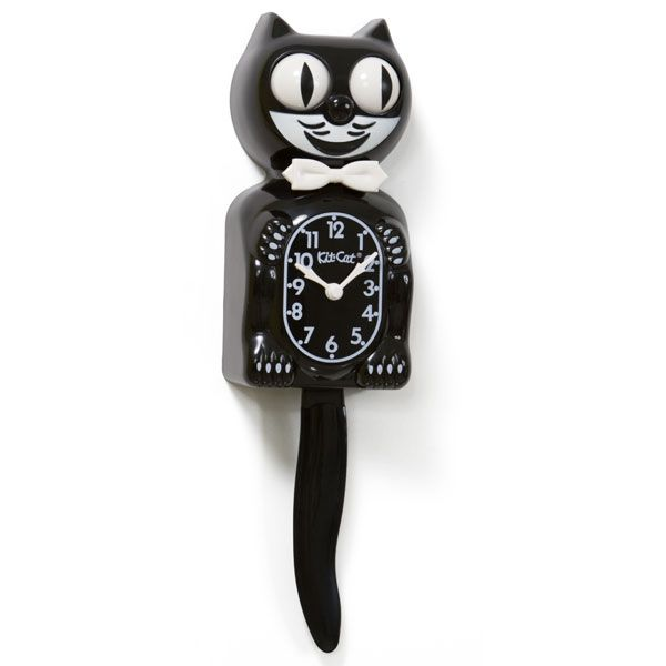Kit Kat Animated Black Cordless Wall Clock D Retro And