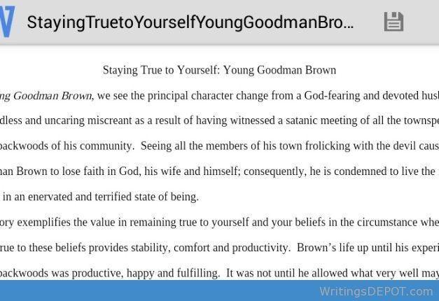 Staying True To Yourself Be Stay Young Goodman Brown Essay