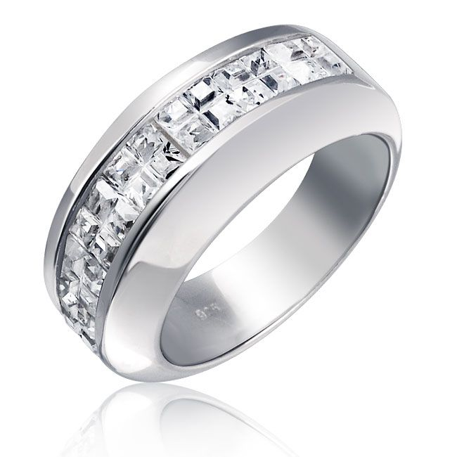 Sterling Silver Wedding Band Modern Invisible Cut CZ Unisex Mens