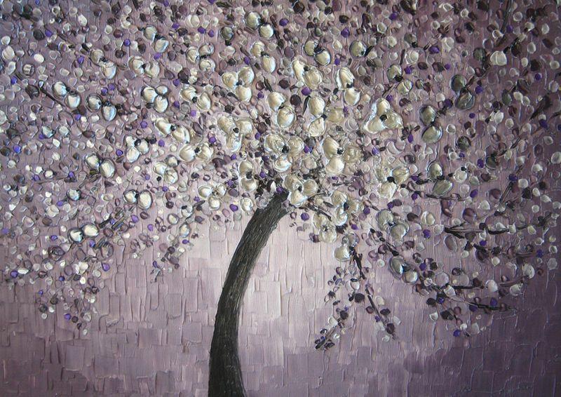 Wall Decor Purple Silver Kootation Com Impasto Painting