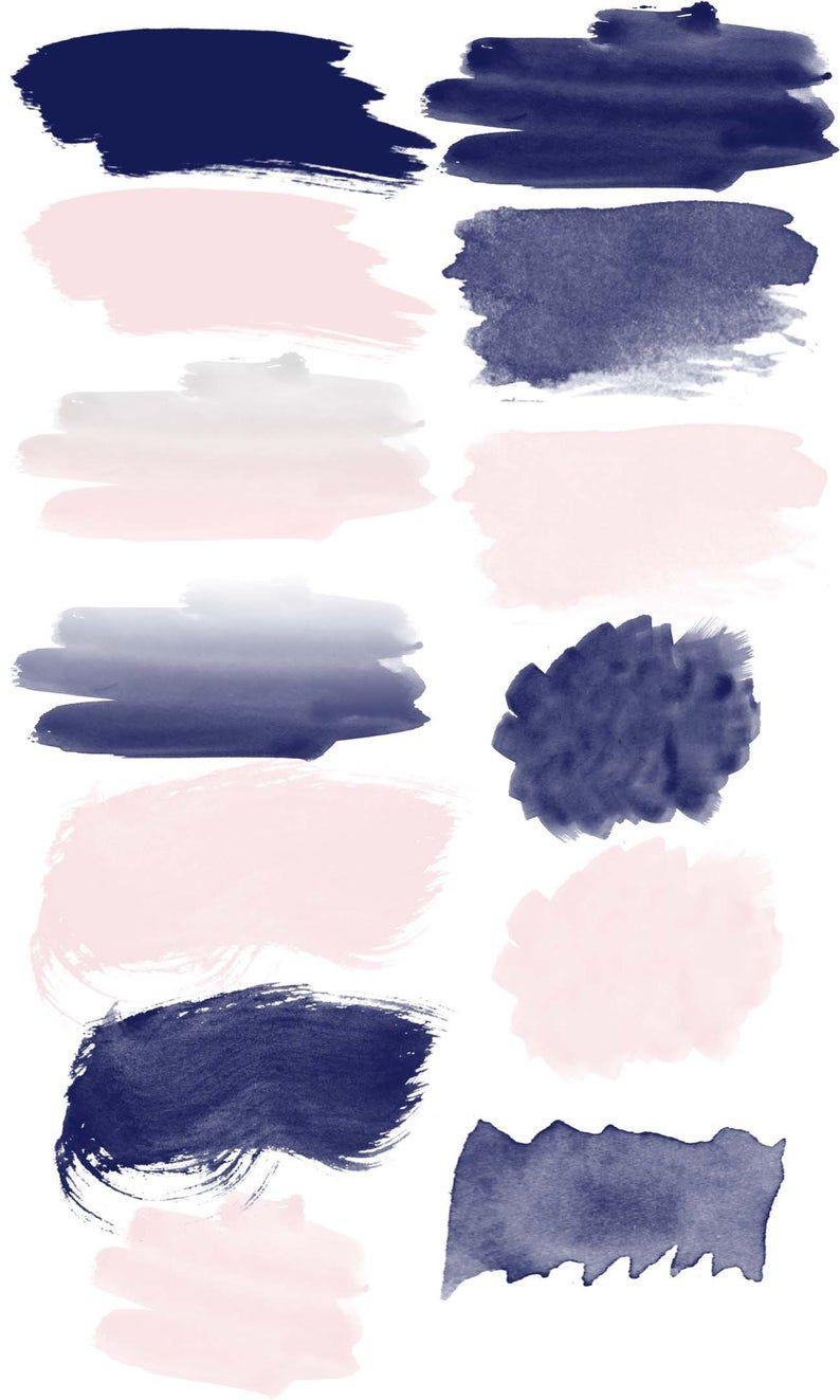 Navy And Blush Pink Watercolor Brush Strokes 9 Glitter Etsy Seni Cat Air Ilustrasi Abstrak