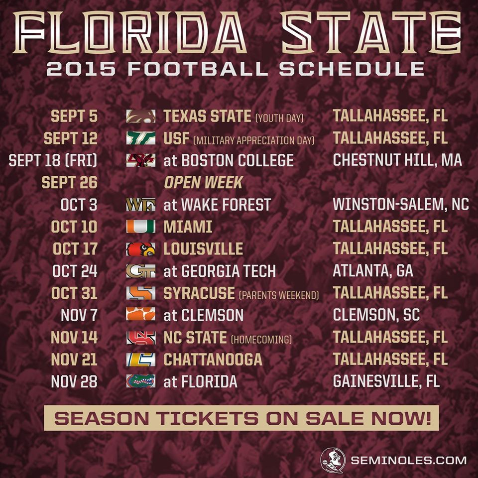 Fsu 2015 Football Schedule Florida State Football Florida