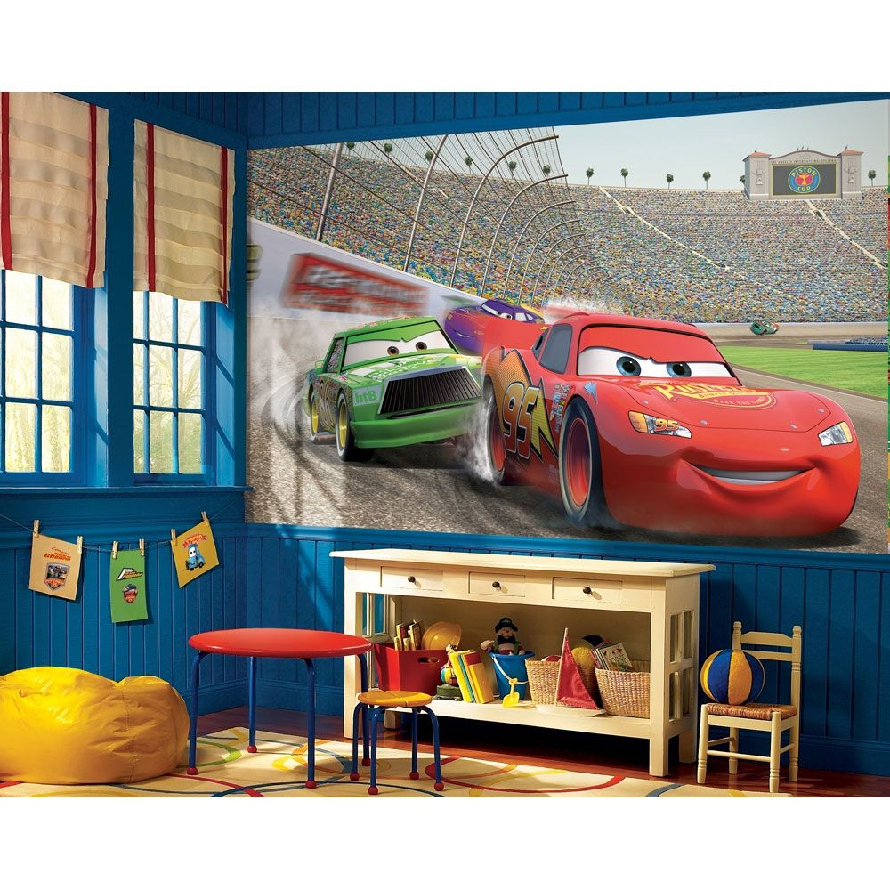 Disney Cars Accent Wall Mural Lightning McQueen Wallpaper Decor - Boys car wallpaper designs