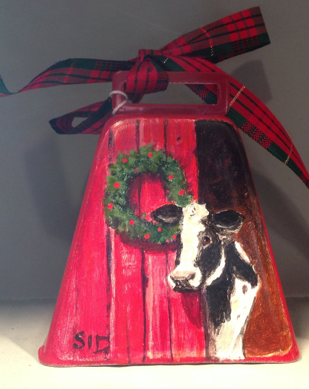 Moo Cow Bell Christmas Ornament Christmas Wreath Barn Door Holstein