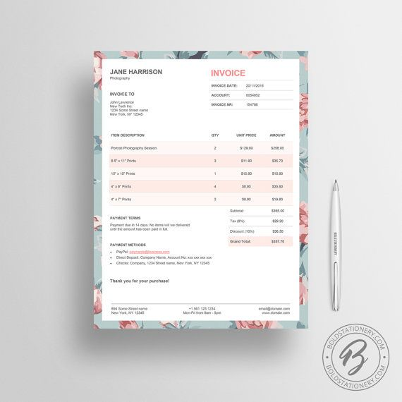 Invoice Template 02 Photography Invoice Receipt Template Etsy In 2021 Photography Invoice Photography Invoice Template Invoice Design
