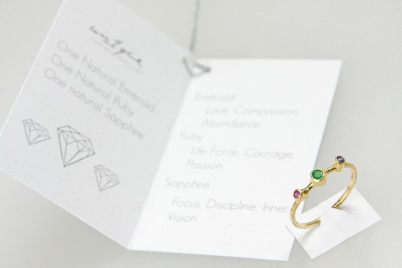 Gemstone Jewellery Sets – Emerald, sapphire and ruby ring – a unique product by un1quejewelry on DaWanda
