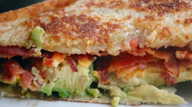 Grilled Avocado and Bacon Sandwich