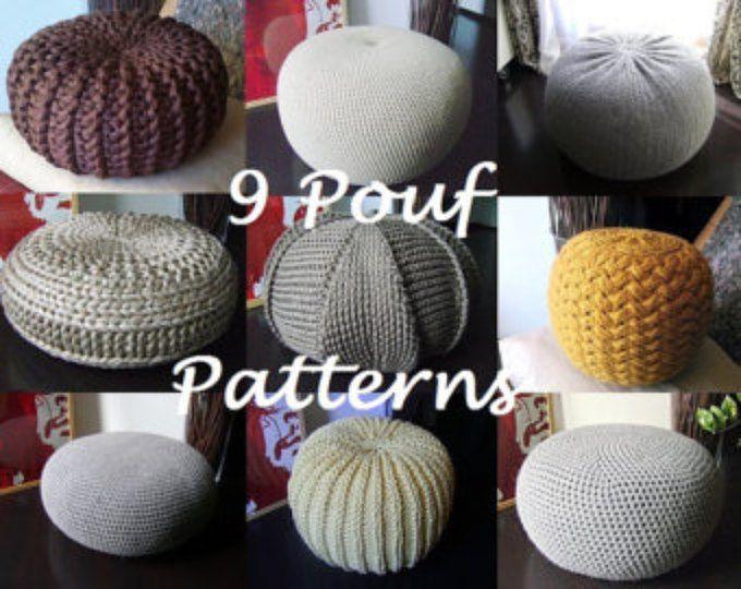 Crochet Pattern Knitting Pattern 9 Knitted & Crochet Pouf Floor ...