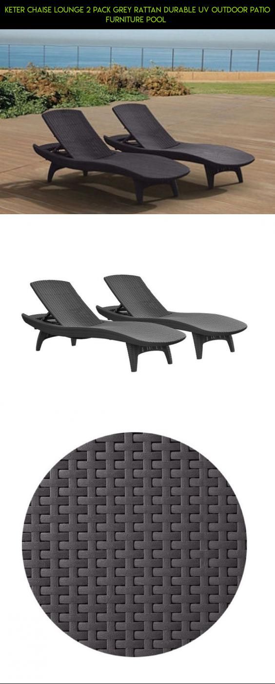Keter Chaise Lounge 2 Pack Grey Rattan Durable Uv Outdoor Patio Furniture Pool Drone
