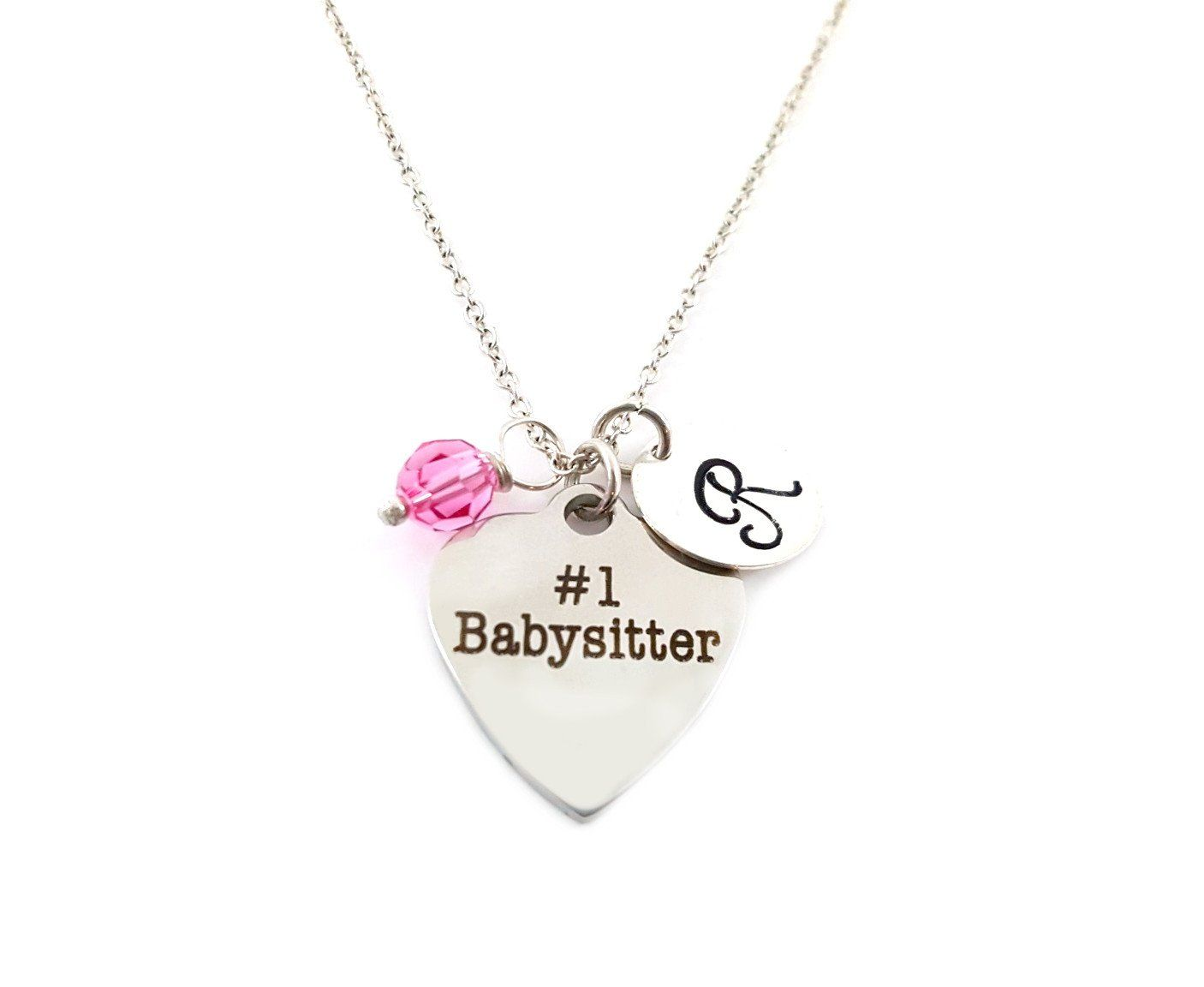 Number One Babysitter Personalized Sterling Silver Necklace