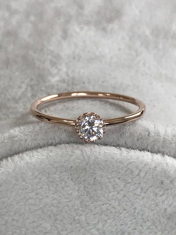Rose Gold Birthstone Ring, Tiny Engagement Ring, Wedding Ring, Promise Ring, Anniversary Ring, Gold Deilcate Ring, Diamond Birthstone Ring - #Anniversary #birthstone #Deilcate #Diamond #Engagement #gold #promise #Ring #rose #tiny #Wedding #diamondrings