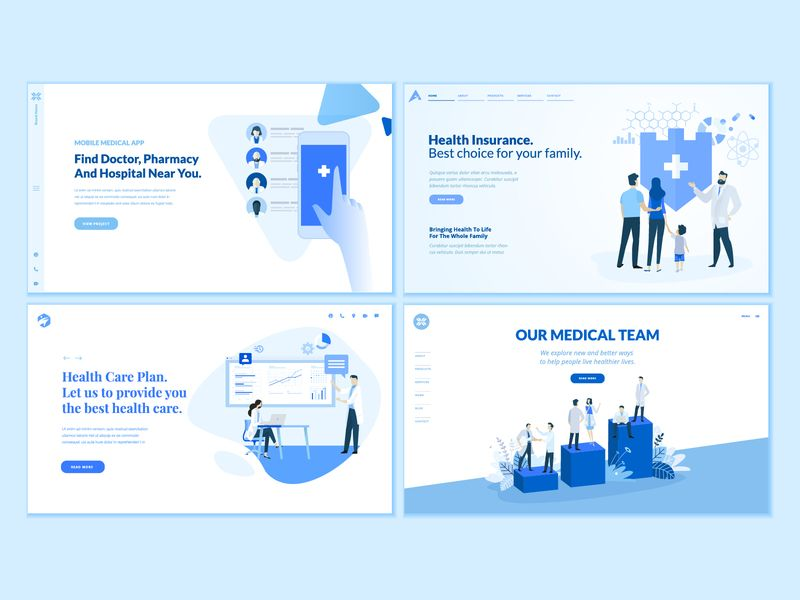 Set Of Medical Web Page Design Templates Page Design Template Design Webpage Template