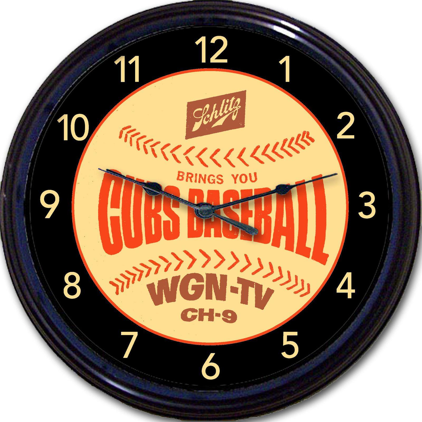 Schlitz/Cubs Beer Clock! Great!   Chicago Cubs Man Cave Art ...