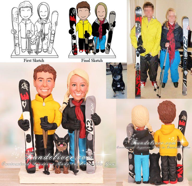 Couple In Ski Gear Skiing Wedding Cake Toppers
