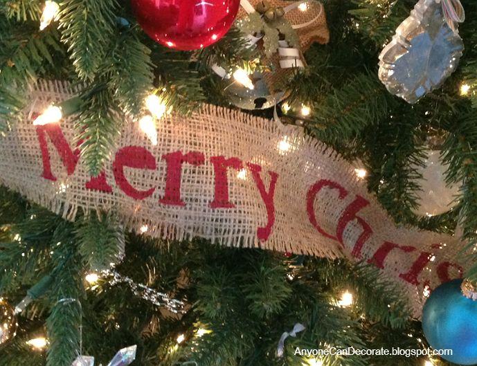 I Diy'd This Burlap Merry Christmas Ribbon Tree Wrap And