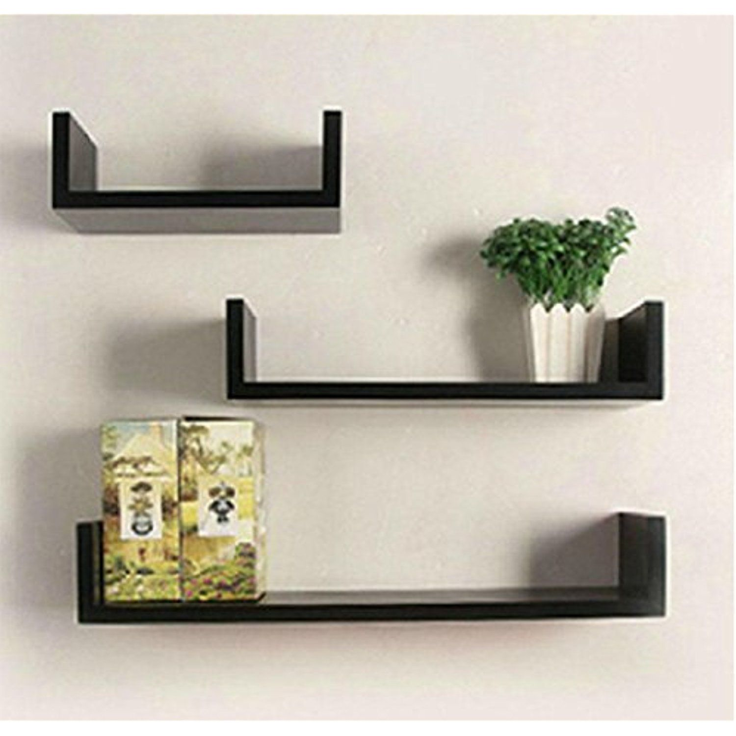 Fashine set of 3 u shape floating wall shelves modern floating shelves black more info could be found at the image url this is an affiliate link