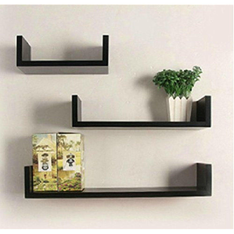 Fashine Set Of 3 U Shape Floating Wall Shelves Modern Floating