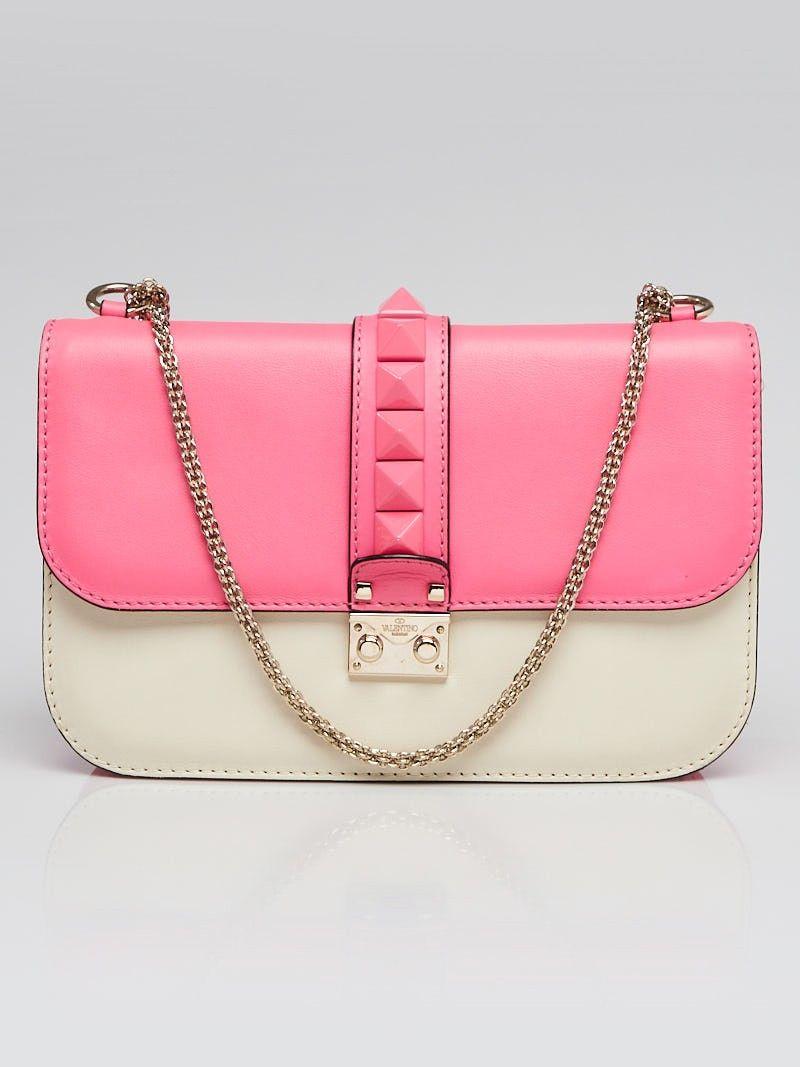 58a2189034 Valentino Pink/White Calfskin Leather Rockstud Glam Lock Medium Flap Bag -  Yoogi's Closet