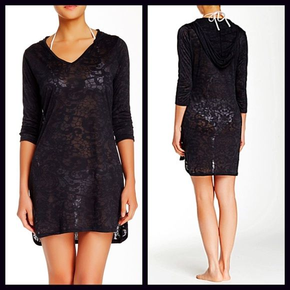 """HOLD Tunic Hoodie Swim Coverup Mini Dress NEW WITH TAGS  RETAIL PRICE: $68  Tunic Hoodie Swim Coverup Mini Dress   * Pullover style w/deep v-neck, side vents & attached hood  * Allover burnout patterned print    * 3/4 length sleeves, about 19"""" long   * Measures about 32""""-35"""" long, hi-Lo hem   * It will approx fit sizes 2-6.   Fabric: 65% polyester & 35% Rayon; Machine Wash  Color: Black Item:   No Trades ✅ Offers Considered*/Bundle Discounts✅  *Please use the 'offer' button to submit an…"""