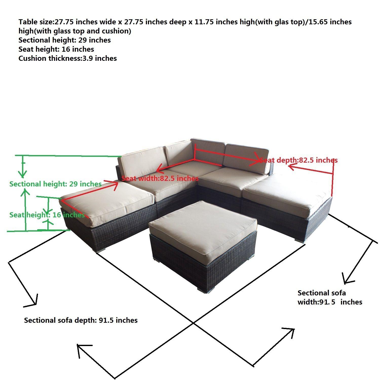 Contemporary Sofa Outdoor Pu 6 Sectional Pieces Everhart Rattan jSVGLqpUzM