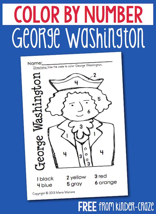 FREE color by number George Washington | KinderLand Collaborative ...