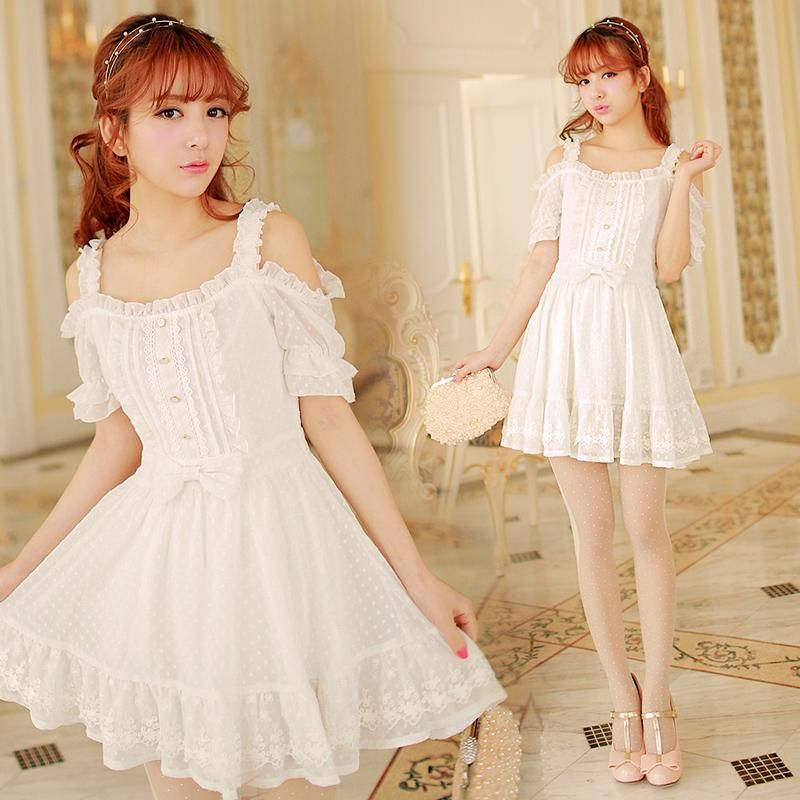 14f4843c130cf Japanese Princess Strapless Lace Wave Point Dress Free shipping ...