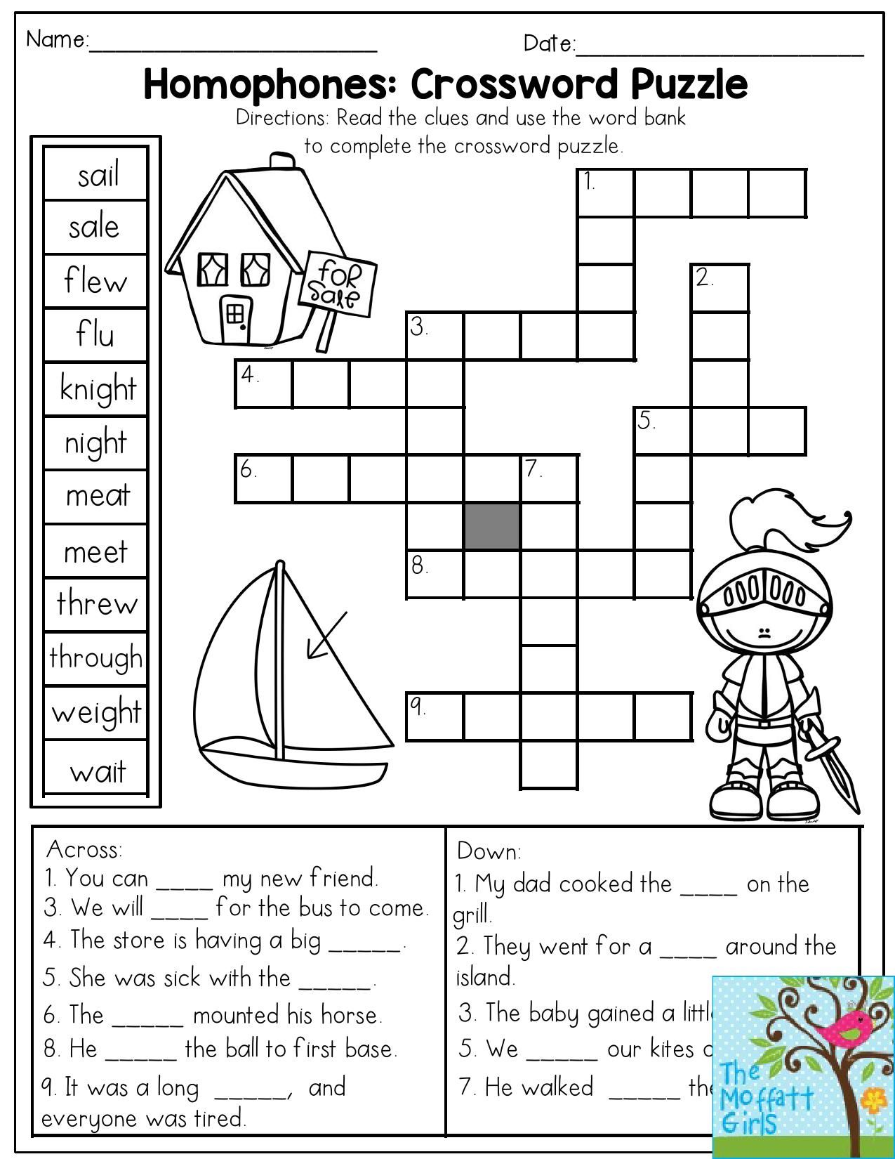 Homophones: Crossword Puzzle- Read the clues and use the word bank to  complete the crossword puzz…   3rd grade words [ 1650 x 1275 Pixel ]