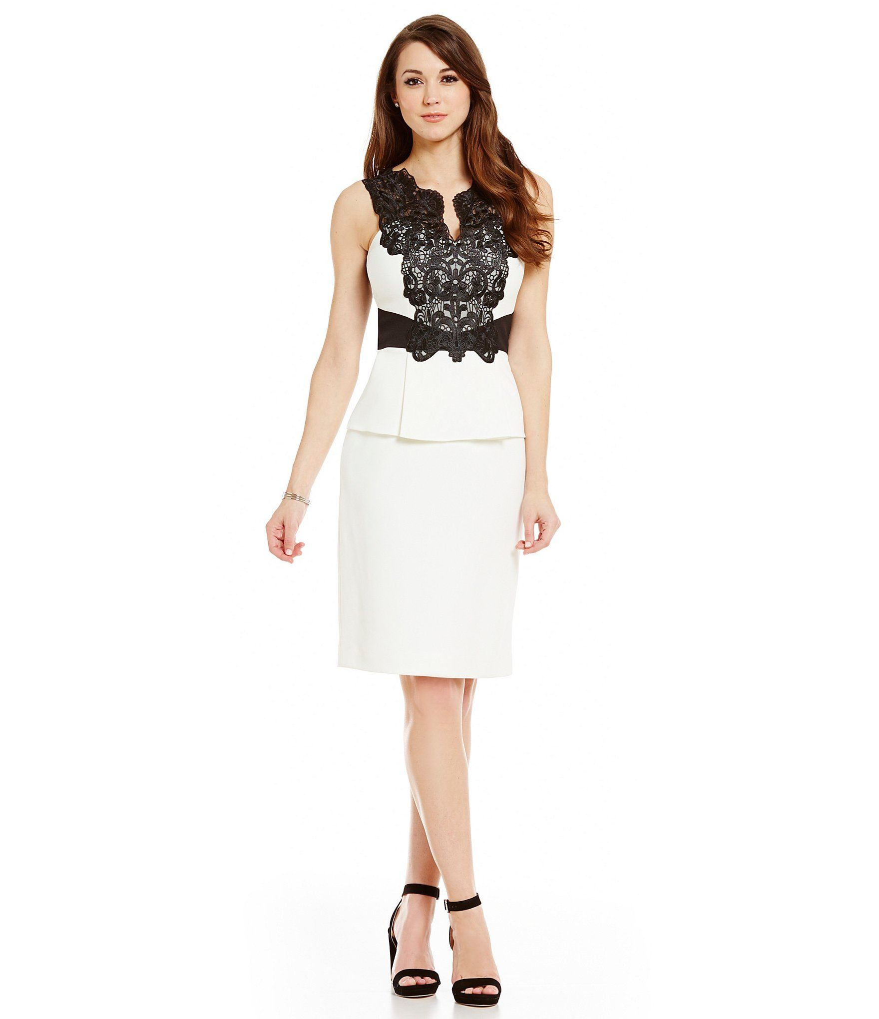 Shop for Antonio Melani Lily Contrast Lace Sleeveless Sheath Dress ...
