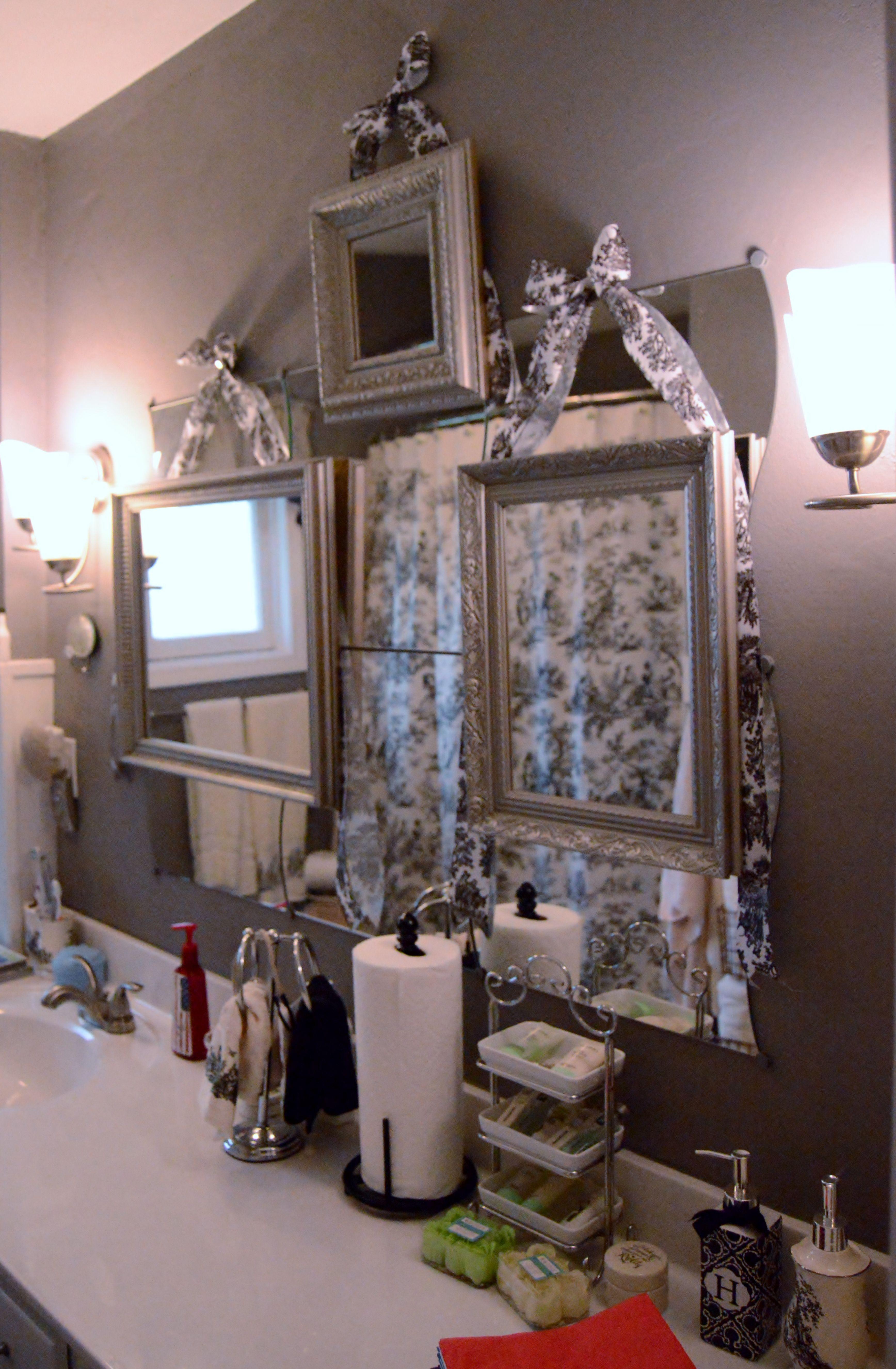 Black toile bathroom black toile framed bathroom mirror