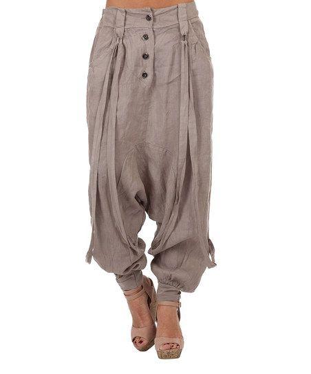 01e0d0a2b42 Taupe Janice Linen Harem Pants