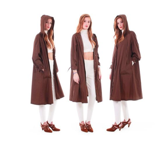 1b711ef402a 80s Vintage Brown Swing Coat Wide Sweep Trapeze Hooded Long Lightweight  Nylon Minimalist Earth Tone Winter Clothing Women Size Medium Large