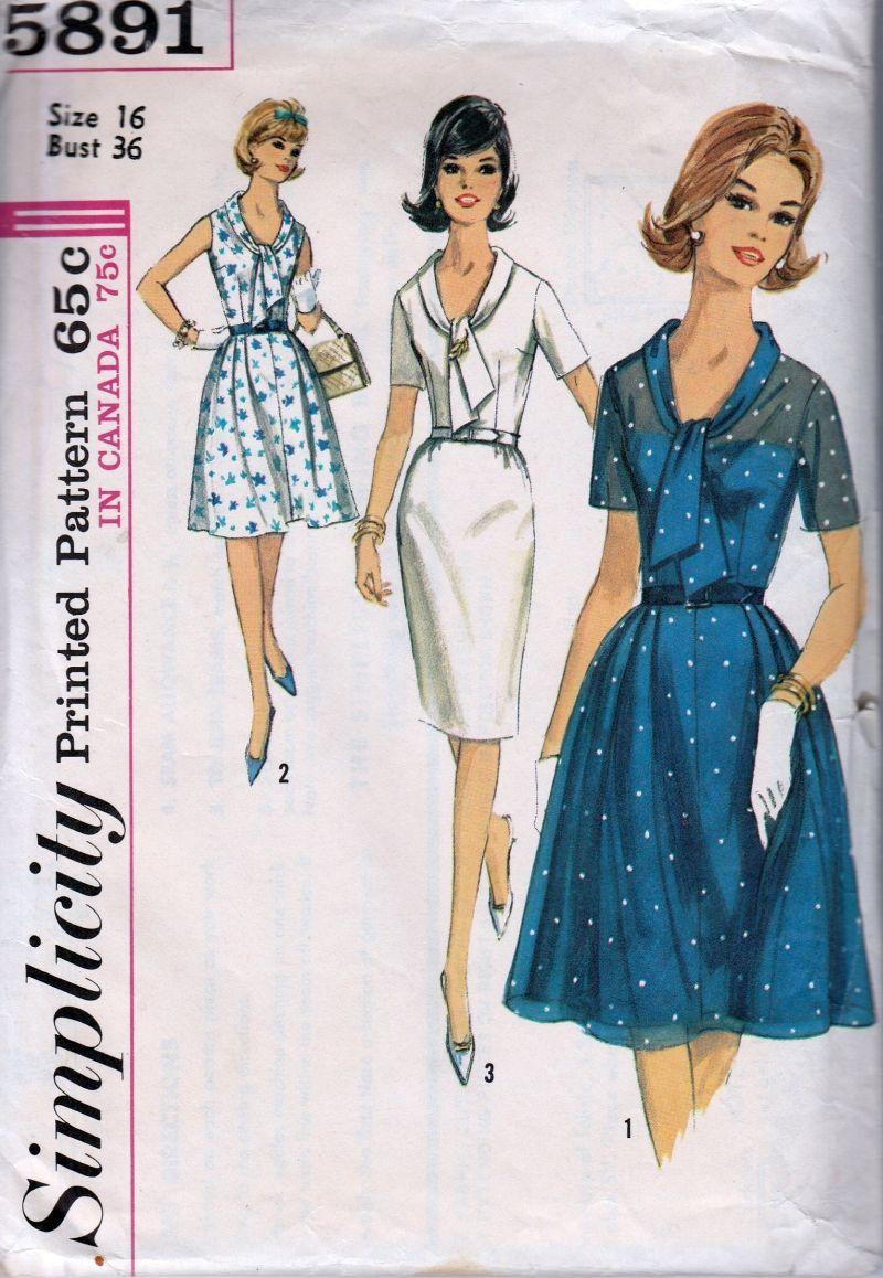 Simplicity 5891 Vintage 1960\'s Sewing Patterns Ladies Sheath Dress ...