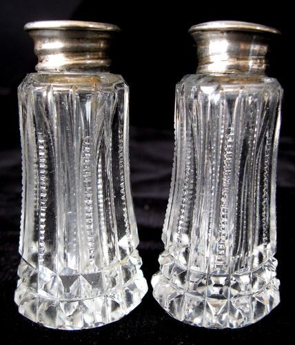 Mother Of Pearl Silver Crystal Salt And Pepper Shakers Vintage Starting Bid 38 00 Salt And Pepper Crystals Salt Pepper Shakers