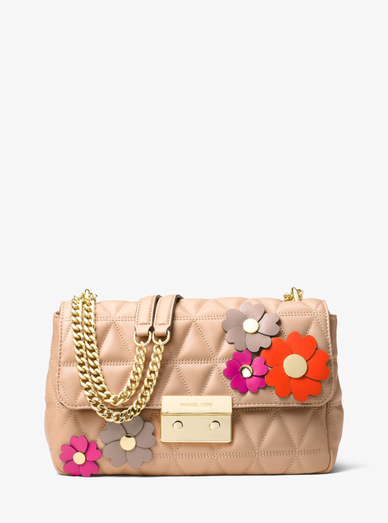 7eeffe375ca0 MICHAEL KORS Sloan Large Floral Appliqué Shoulder Bag. #michaelkors #bags #shoulder  bags #leather #polyester #lining #
