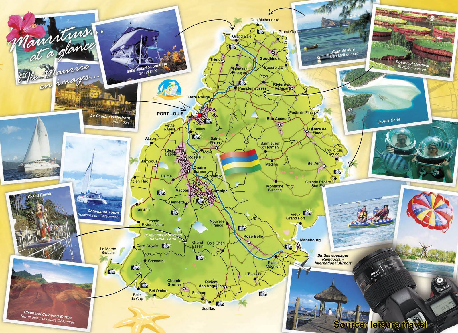 the mauritius attractions map offers a basic
