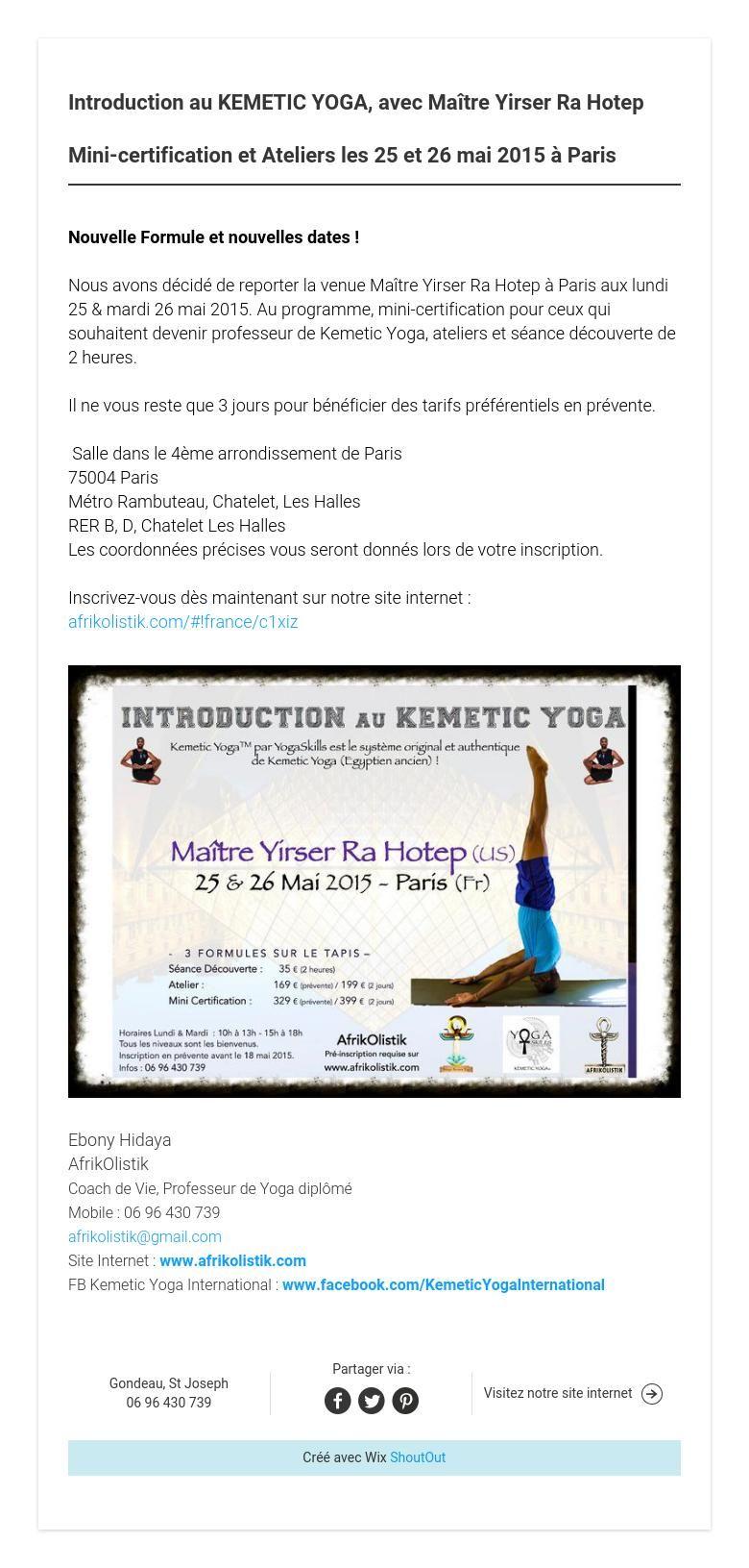 Introduction au kemetic yoga avec matre yirser ra hotep mini introduction au kemetic yoga avec matre yirser ra hotep mini certification et ateliers les 25 et 26 mai 2015 paris 1betcityfo Image collections