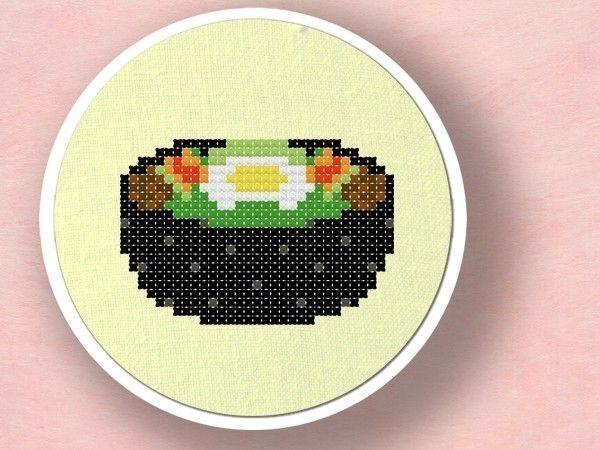 Dolsot Bibimbap. Korean Food Cross Stitch PDF by andwabisabi
